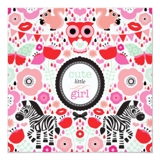 Eulen Zebra-Baby-Mitteilungs-Babyparty Quadratische 13,3 Cm Einladungskarte