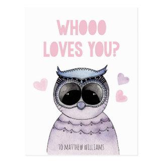 Eulenklassenzimmer-Valentinsgruß. Cartoontier. Postkarte