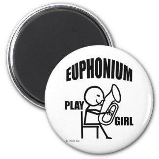 Euphonium-Spiel-Mädchen Runder Magnet 5,7 Cm