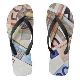 Eurobanknoten-Fußbekleidung Flip Flops