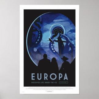 Europa-Ausflug - Retro Raumfahrt-Kunst-Plakat Poster