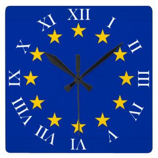 Europa Fahne Quadratische Wanduhr