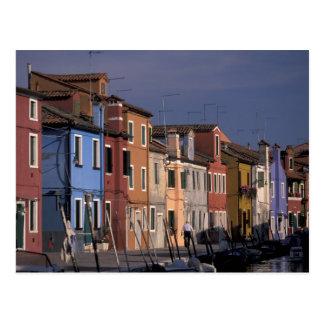 Europa, Italien, Venedig. Multi, farbige Häuser Postkarte