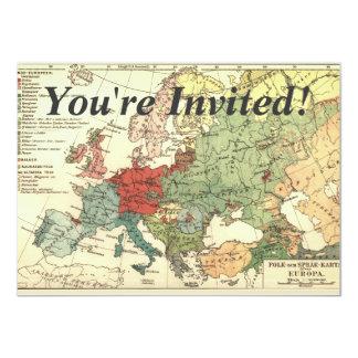 Europa-Karten-Land-Welt Vintag 11,4 X 15,9 Cm Einladungskarte