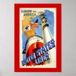 Europa zu Amerika ~ Staat-Linien Plakate