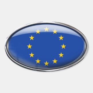 Europäische Gewerkschafts-Flagge im Glasoval (Satz Ovaler Aufkleber