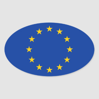 Europäische Gewerkschafts-Flagge Ovaler Aufkleber