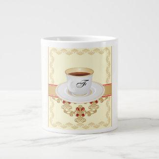 Europäischer Monogramm-Kaffeetasse-Buchstabe F Jumbo-Tasse