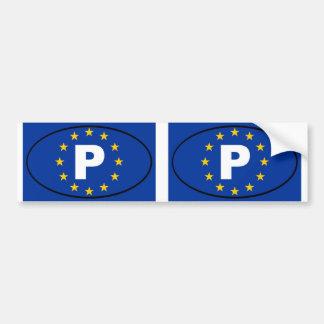 Europäisches Gewerkschaftsoval Portugals P Autoaufkleber