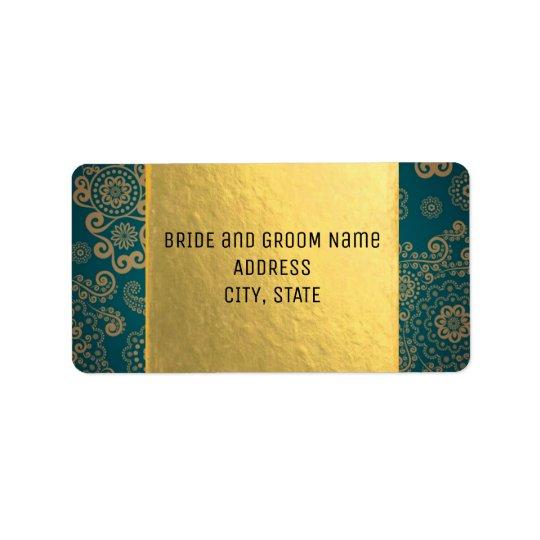 Europäisches Retro aquamarines u. Gold Adressaufkleber