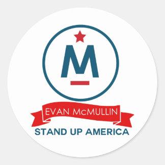 Evan McMullin - stehen Sie oben Amerika! Runder Aufkleber