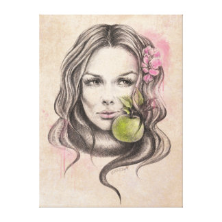 Eve|Woman Porträt mit Apfel eingewickelter Gespannter Galeriedruck