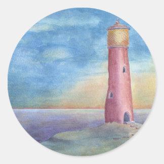 Evening at the lighthouse runder aufkleber