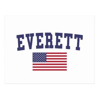 Everett MA US Flagge Postkarte
