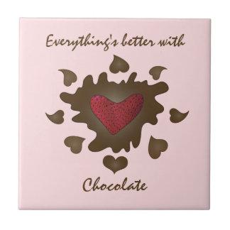 Everythings besser mit Schokolade Kleine Quadratische Fliese