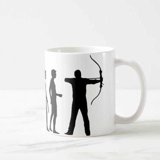 evolution bow and arrow kaffeetasse