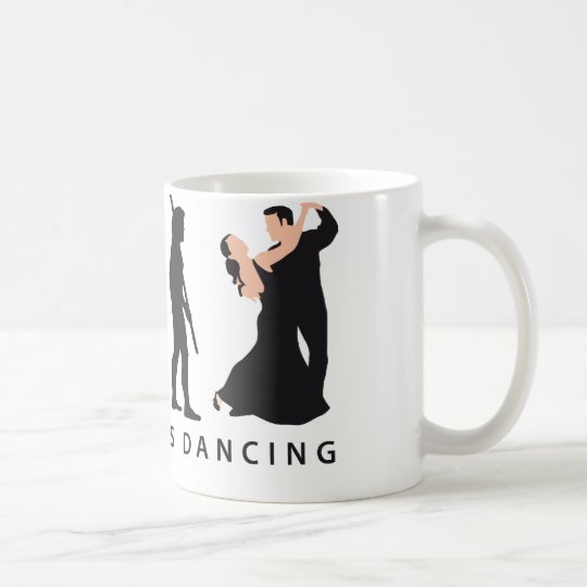 evolution dancing couple kaffeetasse