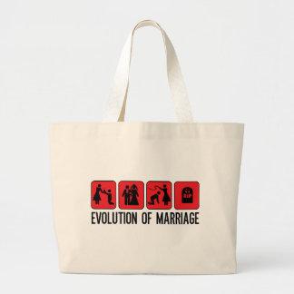 Evolution der Heirat Jumbo Stoffbeutel
