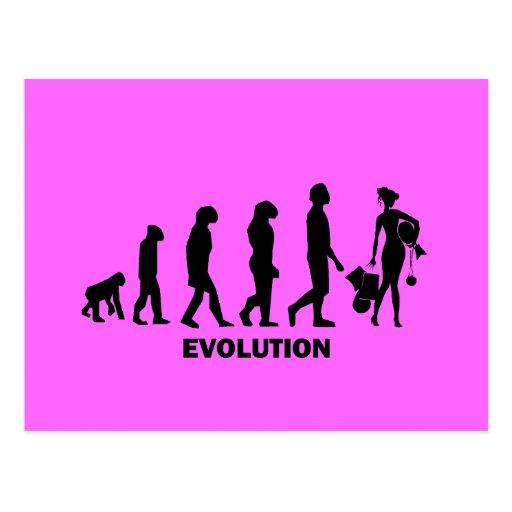 Evolution des Einkaufens Postkarte