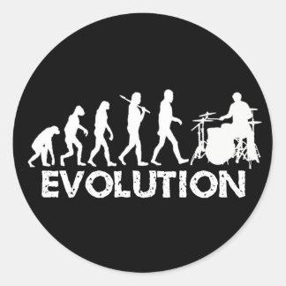Evolution eines Schlagzeugers Runder Aufkleber