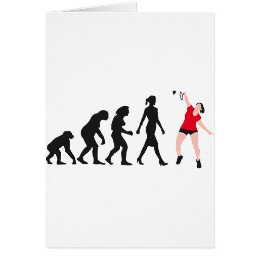 evolution female badminton player grußkarte