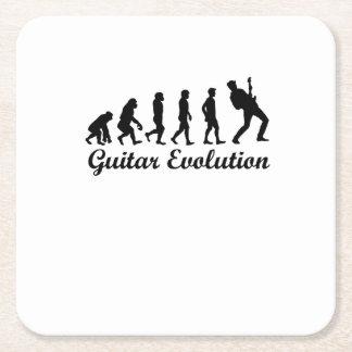 Evolution Gitarren-der lustigen musikalischen Rechteckiger Pappuntersetzer