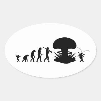 Evolution Mann-u. Schaben-des lustigen Ovaler Aufkleber
