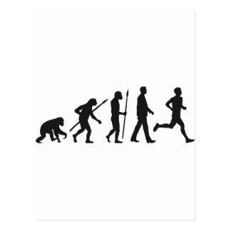 Evolution marathon runner postkarte