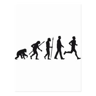 Evolution marathon runner postkarte