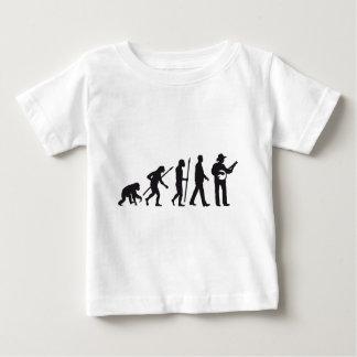 evolution of man banjo player baby t-shirt