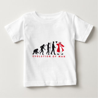 evolution of man clown baby t-shirt