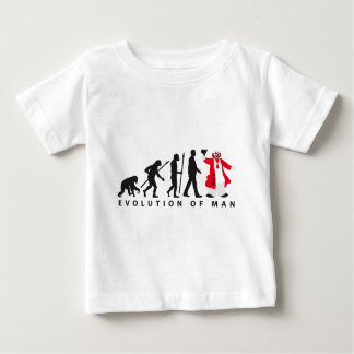 evolution of man clown baby t-shirt