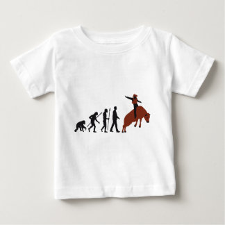 evolution of man cowboy rodeo bull riding baby t-shirt