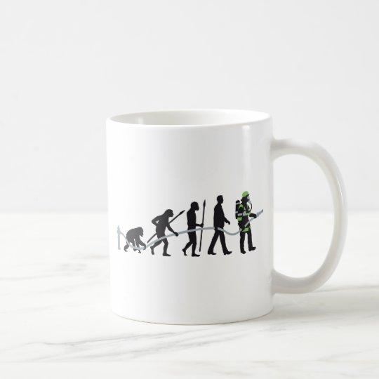 evolution of man fire fighter kaffeetasse