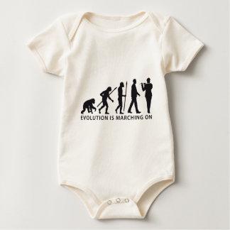 evolution of man marching band flute timpani baby strampler