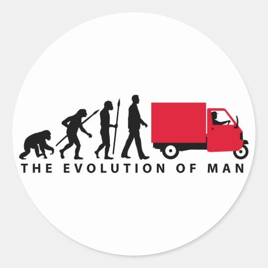Evolution of man Piaggio Ape mini transporter Runder Aufkleber