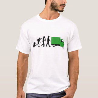 Evolution of man Piaggio Ape mini transporter T-Shirt