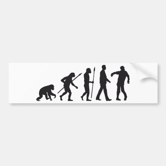 evolution of man zombie walking dead autoaufkleber