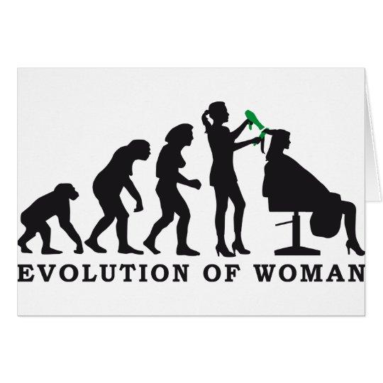evolution of woman female hairdresser karte