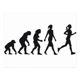evolution of woman female jogger postkarte