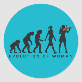 evolution of woman female violin player runder aufkleber