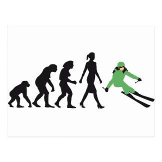 evolution of woman skiing postkarte