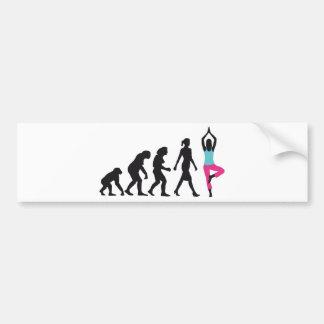 evolution of woman yoga position autoaufkleber