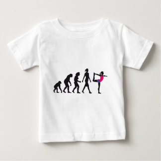evolution of woman yoga position baby t-shirt
