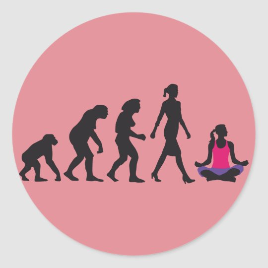 evolution of woman yoga position runder aufkleber