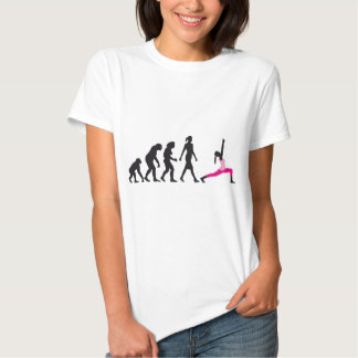 evolution of woman yoga position tshirts