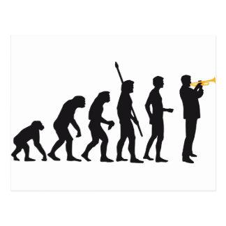 evolution trumpet player postkarten