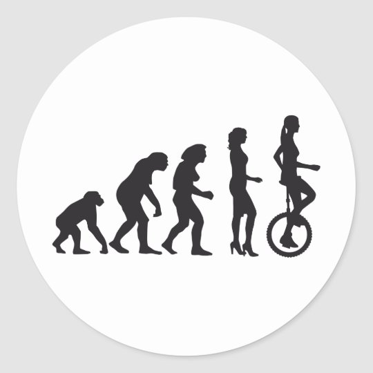 evolution unicycle runder aufkleber