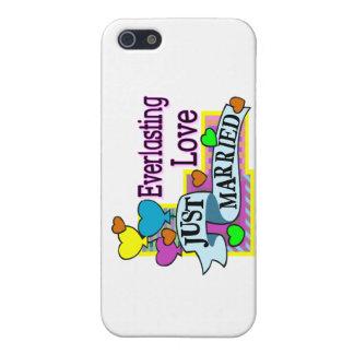 Ewig Liebe-gerade verheiratete Herz-Ballone iPhone 5 Schutzhülle