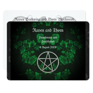 Ewige Handfasting/Hochzeits-Pentagramm-Grün-Suite 12,7 X 17,8 Cm Einladungskarte